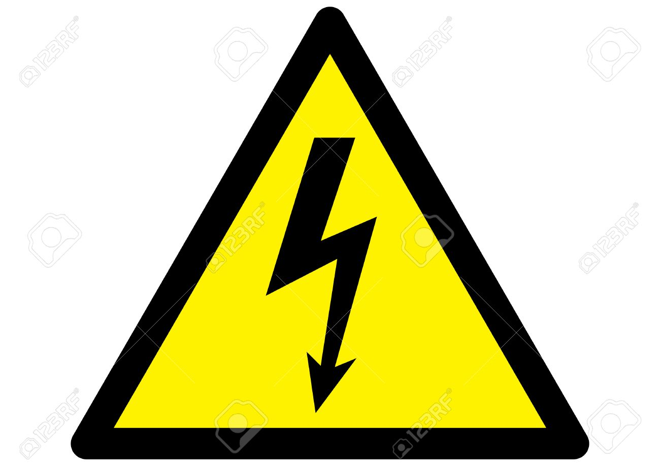 electricity Hazard symbol on warning sign Stock Vector - 1469924