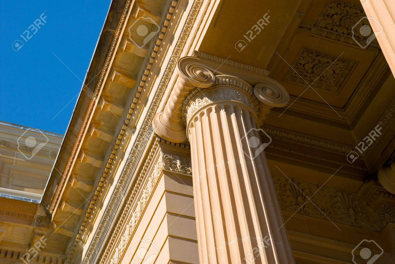architectural detail photography. Neo Classical Architectural Detail Of Ionic Column On Classic Greek Temple Style Facade Art Gallery Photography