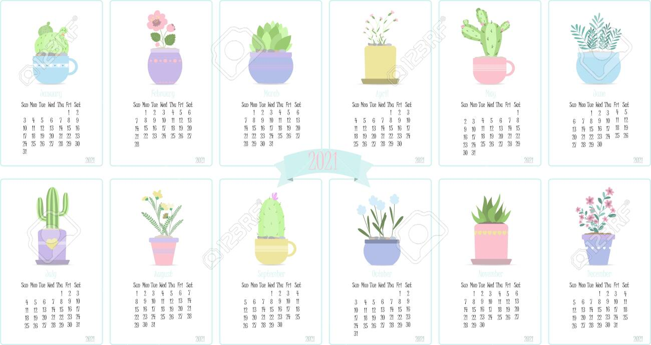 Calendar For 2021 With Cute Cactuses And Plants Twelve Months Royalty Free Cliparts Vectors And Stock Illustration Image 152492789