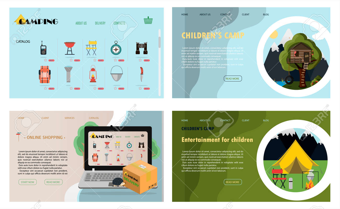 A set of vector site pages for camping, health camps and tourism. Flat illustration of the main page of the mobile app, online store. Banners for a website, ad, laptop or smartphone. - 165907057