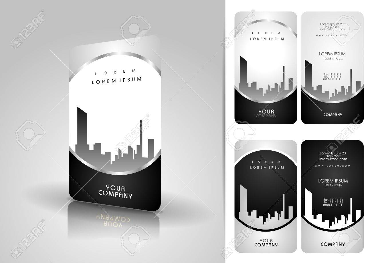 Silver business card set Stock Vector - 13585706