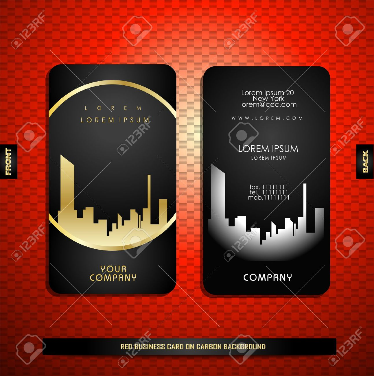 Black with gold business card on carbon background royalty free black with gold business card on carbon background stock vector 17050394 reheart Choice Image