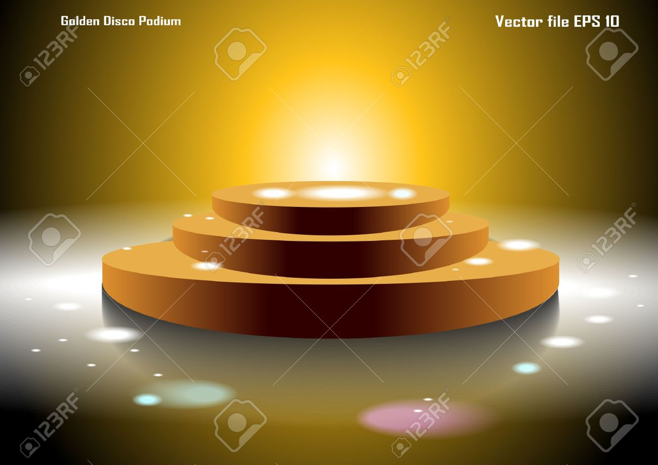 Golden Disco Podium Stock Vector - 17570385