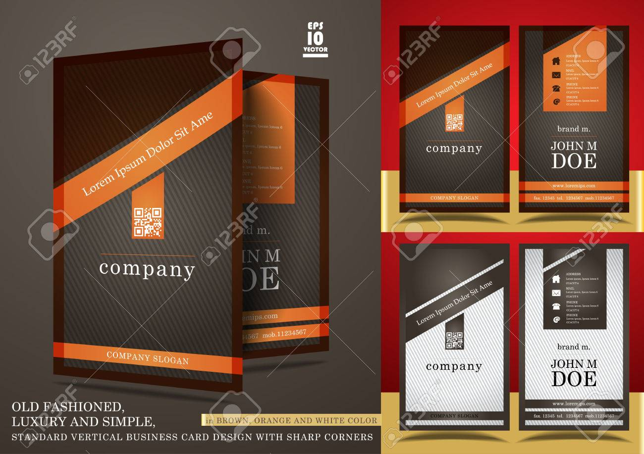 Old Fashioned Vertical Business Card Design Royalty Free Cliparts ...