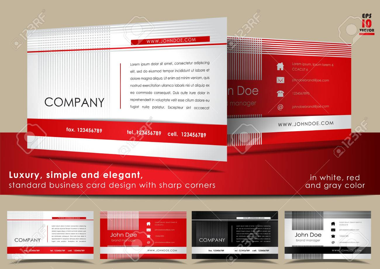 Simple and elegant standard business card design in white red simple and elegant standard business card design in white red and gray color stock colourmoves