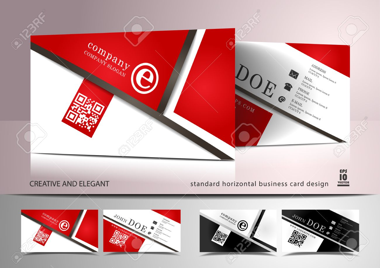 Creative Business Card Design In Red And White Royalty Free Cliparts ...