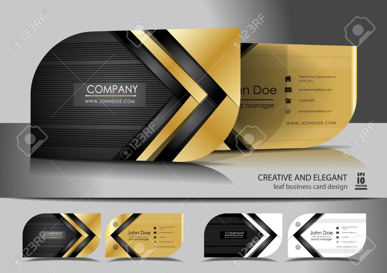 Creative Leaf Business Card Design Royalty Free Cliparts, Vectors ...