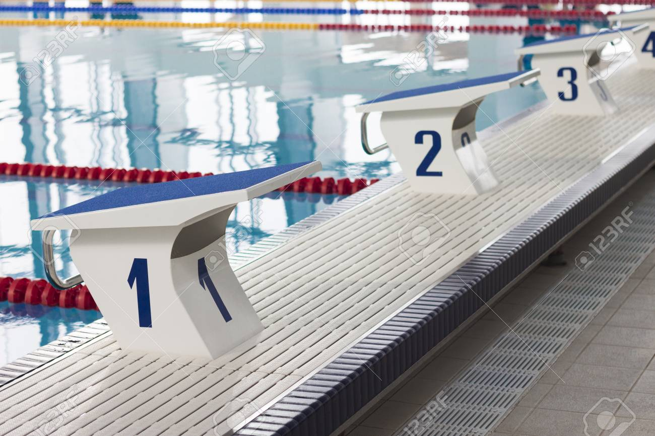 Swimming Pool Starting Blocks in a row