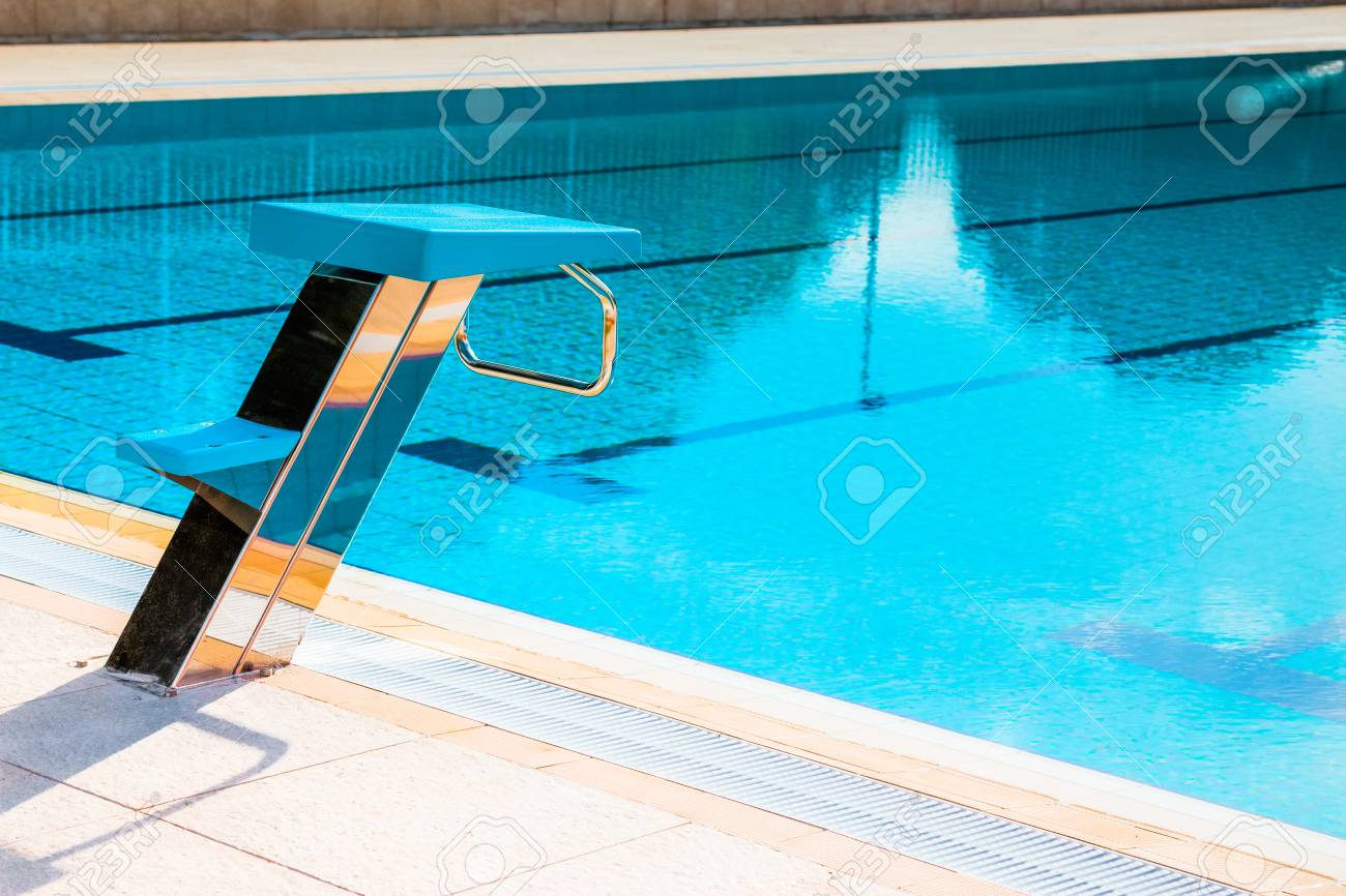 Close up of swimming pool starting block outdoors. Swimming competition..
