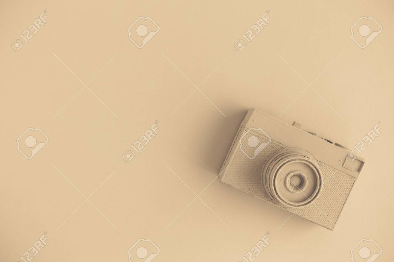 Vintage Camera On Background In Pastel Beige Color Minimal Creative Stock Photo Picture And Royalty Free Image Image 100177770