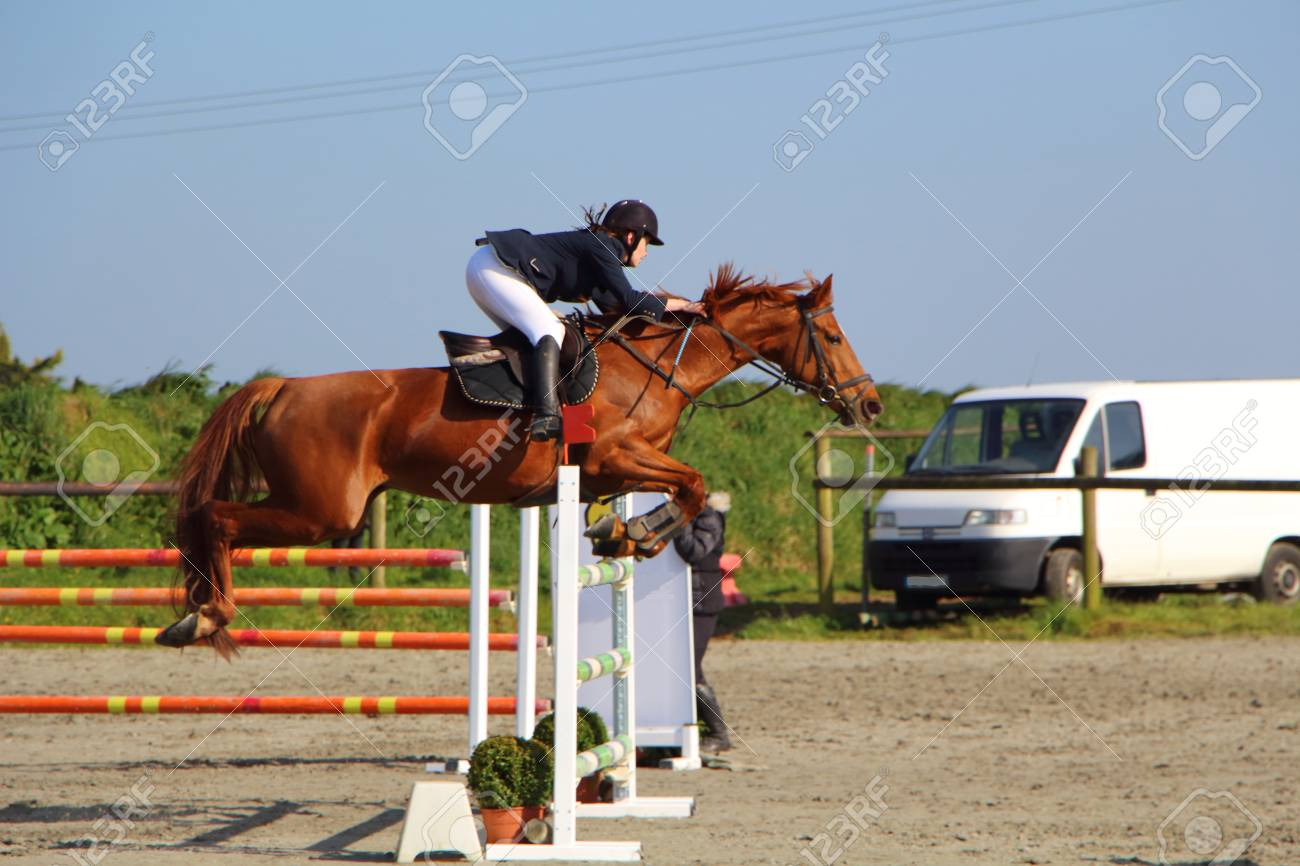 Plabennec France March 25 Woman And Chestnut Horse Jump Stock Photo Picture And Royalty Free Image Image 84539334