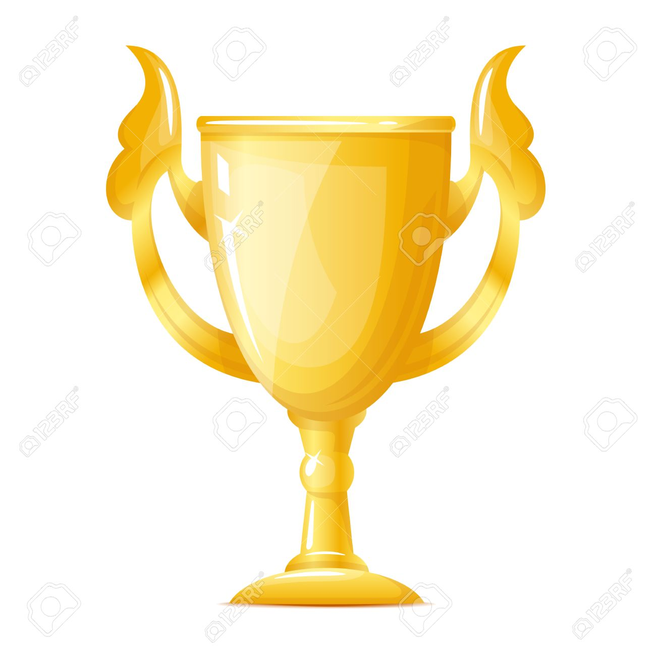 One Big Golden Cup Gold Trophy Quality Illustration Isolated Stock Vector