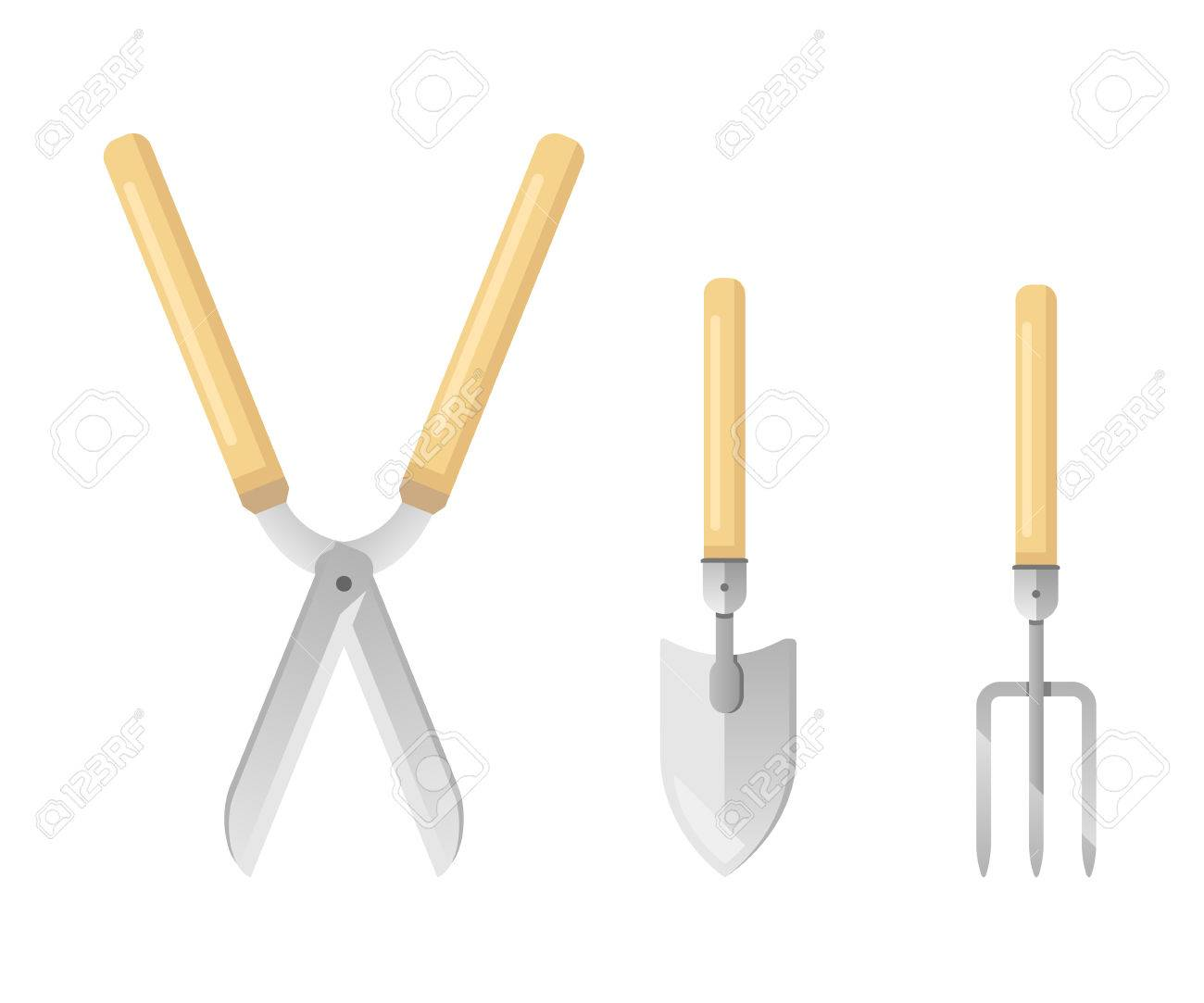 Set Of Sample Gardening Tools Equipments In Colors Garden Shears