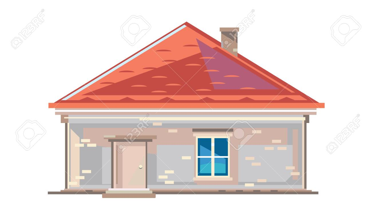 One Small Brick Rural House In Front View With Red Roof Tile Royalty Free Cliparts Vectors And Stock Illustration Image 145058531