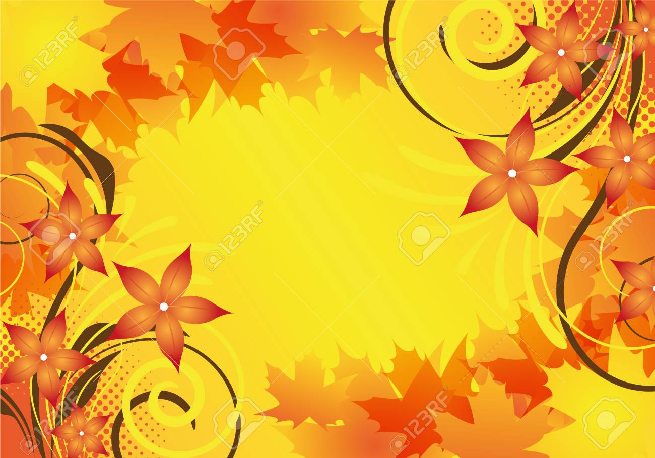 autumn background design with leaves and flowers Stock Photo - 6261916