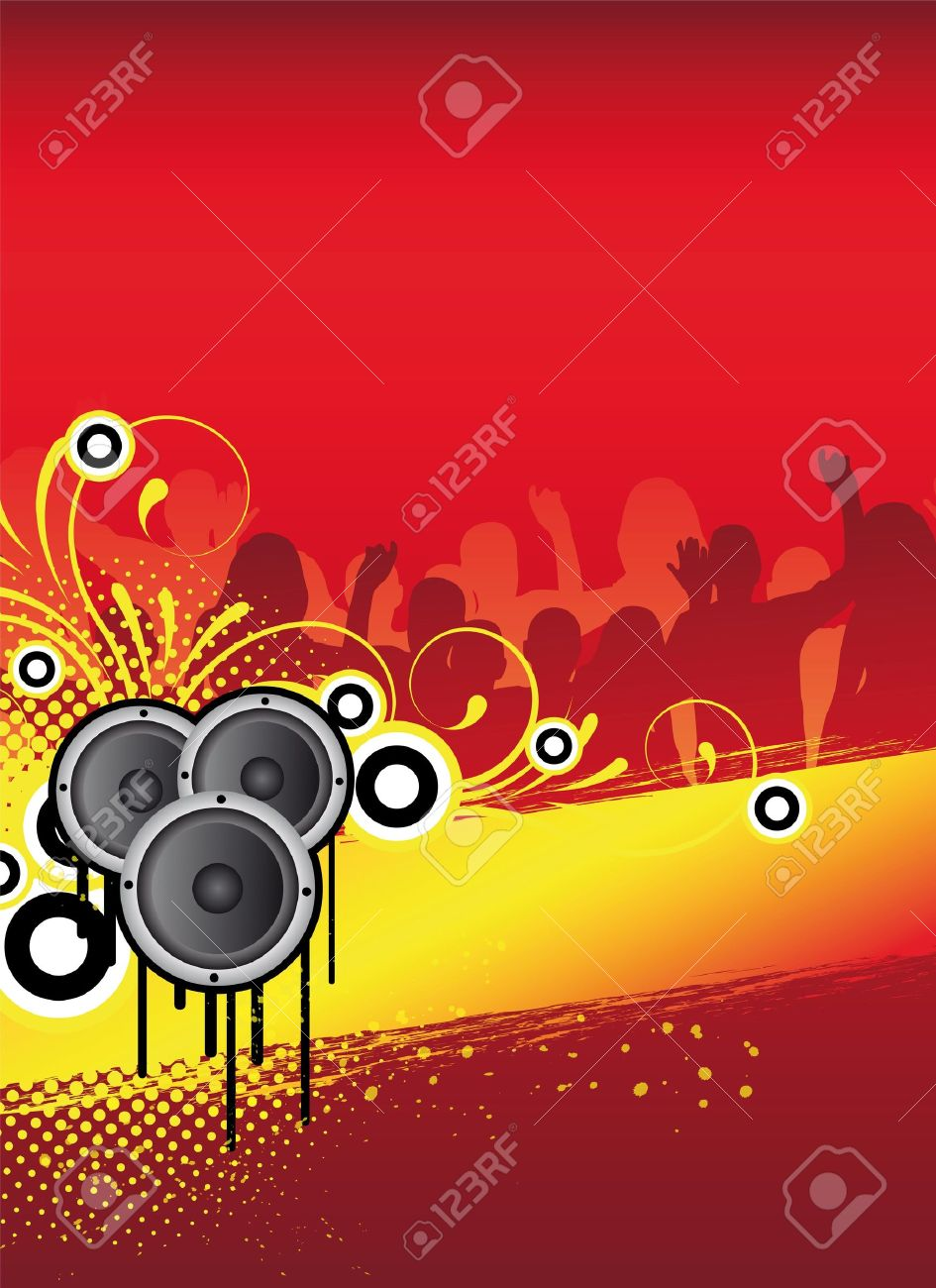 Red Abstract Party Flyer Design With Dancing People Stock Photo ...