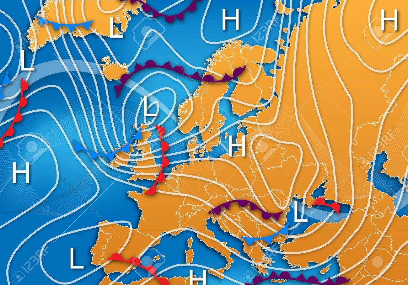 Mapa De Isobaras Europa.Un Mapa Meteorologico Europeo Con Isobaras Y Frentes