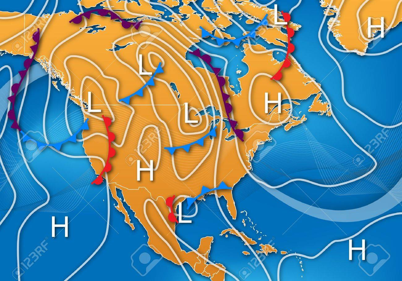 Weather Map Of America.Weather Map Design Of North America Stock Photo Picture And Royalty