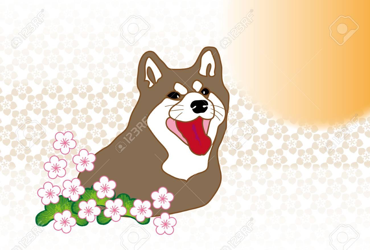 Shiba Inu And Plum Flowers Sunrise Japanese Greeting Cards Stock Photo