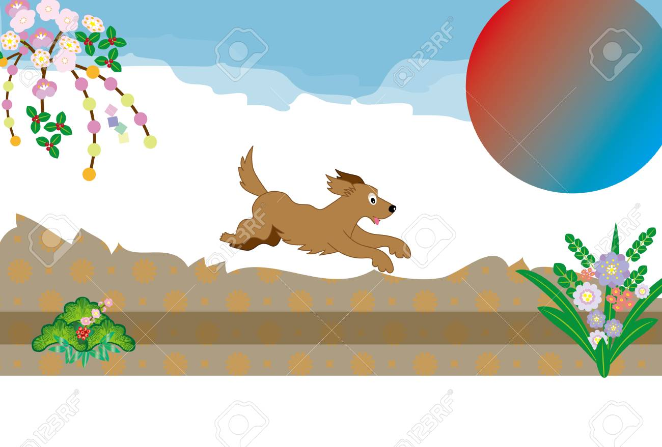 Japanese Pop Dog Runs Fine And Sunrise Greeting Cards Stock Photo