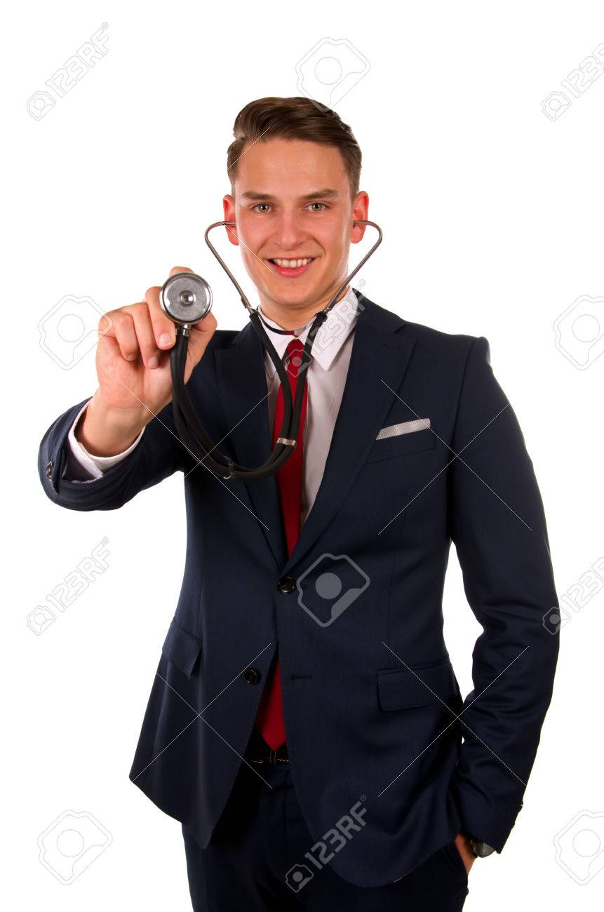 Picture of a young doctor standing in front of an isolated background - 39046722