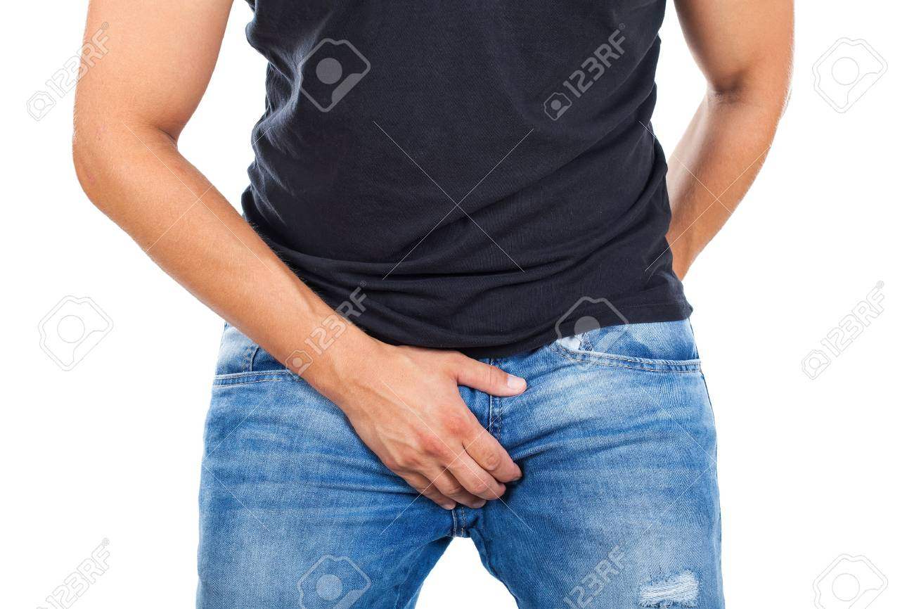 Close up young man with casual outfit holding his on isolated background - 85247726