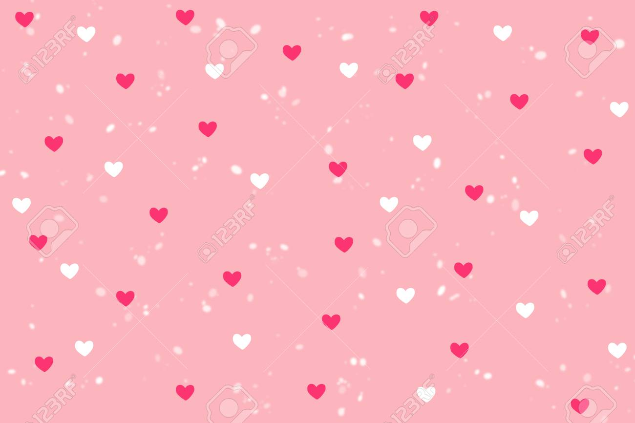 Pink And White Heart Shape With Snowfall Background On Sweet Stock