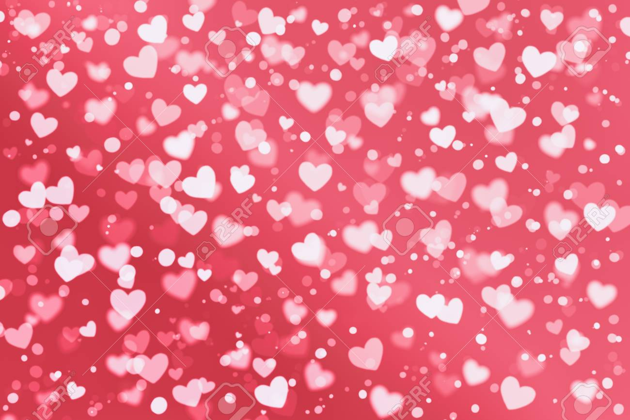 White And Pink Heart Shape And White Dot On Red Wallpaper With