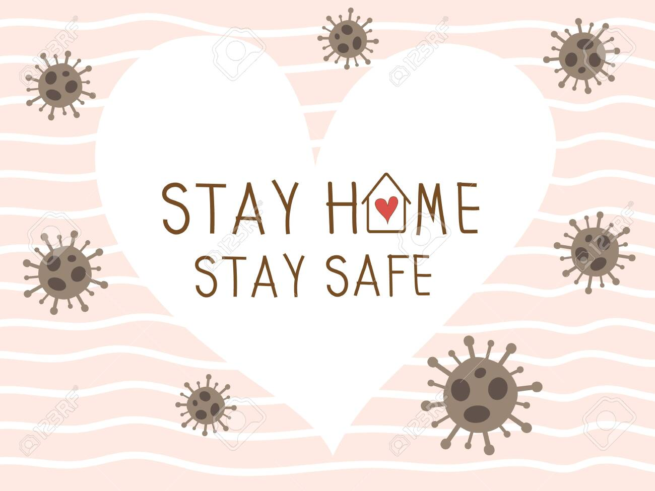Stay home stay safe vector background with white heart and pink wallpaper. Coronavirus or covid 19 campaign for awareness and self quarantine for prevention disease pandemic. Social distancing concept - 148865209