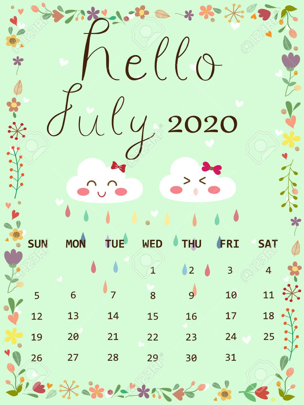 Cute calendar 2020 July in rainy season concept with copy space. Cute pastel blue sky color background with white cloud and raindrop and white heart look so sweet and romantic.Wallpaper vector design. - 149186931