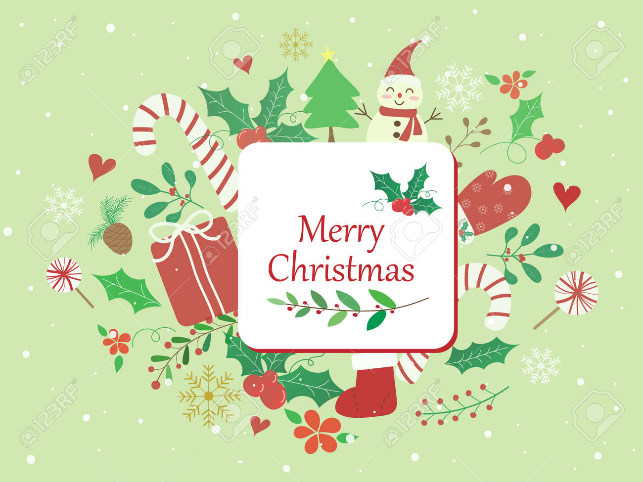 Sweet and beautiful Christmas background with candy cane, gift box,mistletoe, snowman and text Merry Christmas on pastel green wallpaper. Cute vector art with snowfall for xmas and new year design. - 157330037