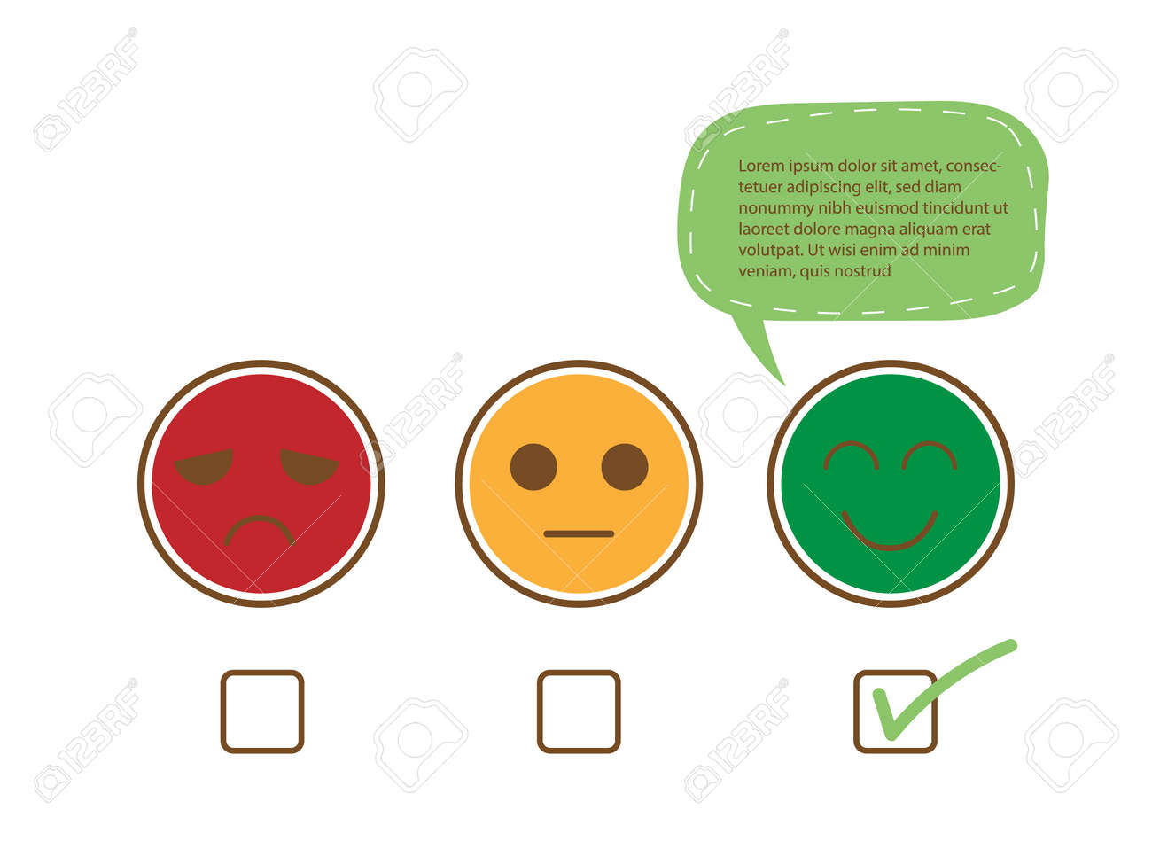 Tick sign on happy smile face with speech bubble for complain, good feedback rating positive customer service review, experience, satisfaction survey ,assessment and world mental health day concept. - 158545544