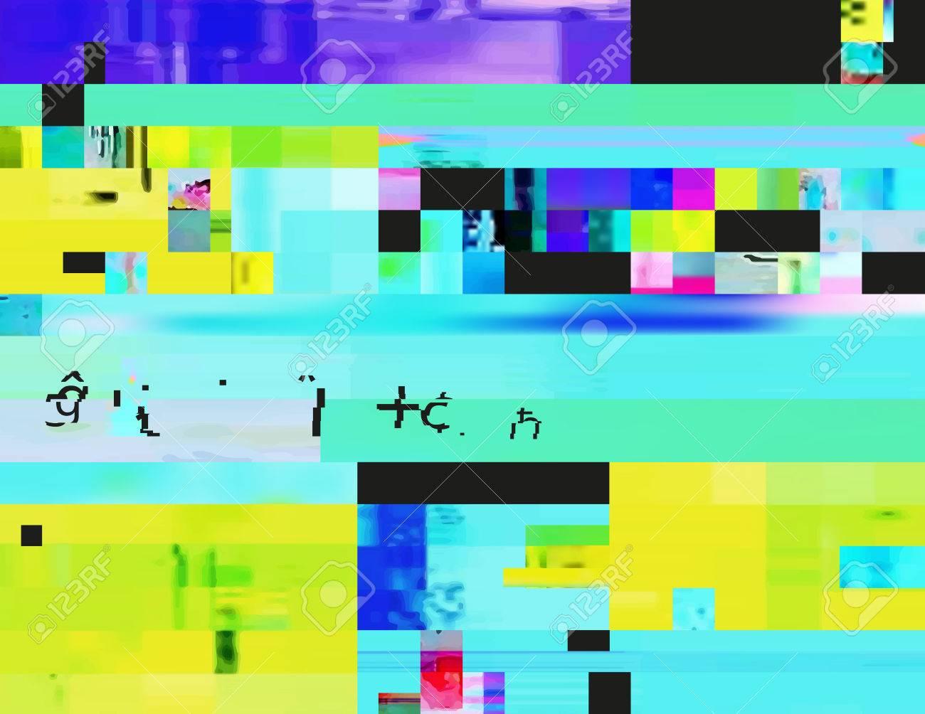 Glitch-Hintergrund In Der Rave-Ästhetik. Zufällige Digitalen ...