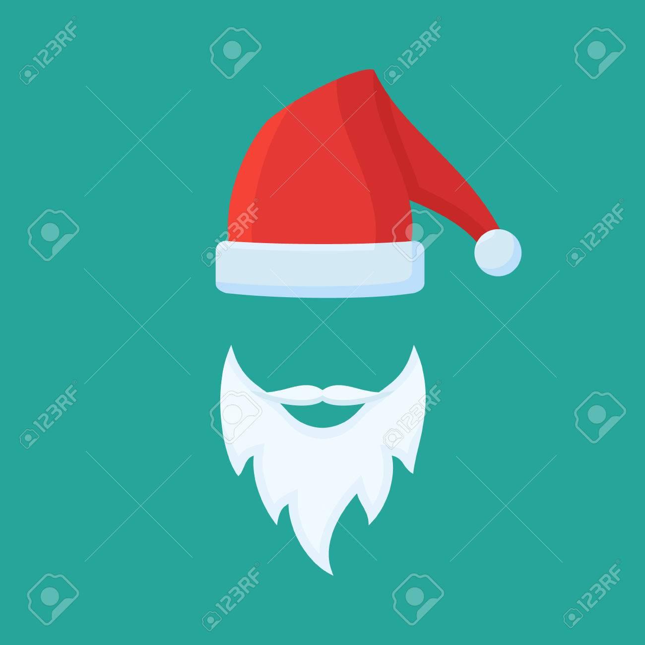 433c11f483d0e Foto de archivo - Sombrero de Santa Claus y la barba. ilustración vectorial  de estilo plano.