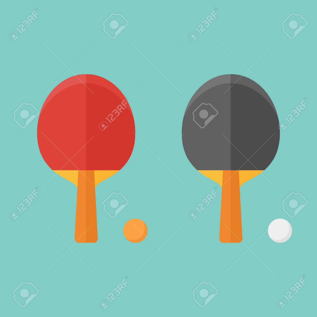 Set Of Table Tennis Bats And Balls Isolated On Background. Flat ...