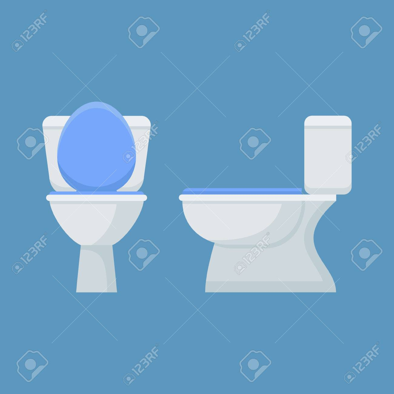 Toilet Bowl Isolated On Blue Background. Flat Style Icon. Front ...