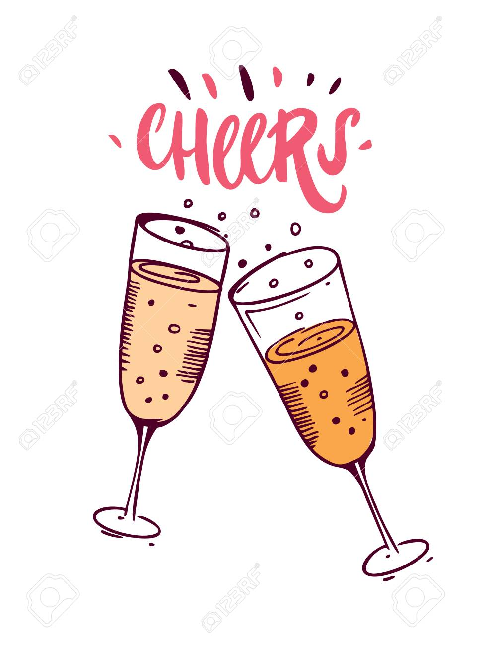 1b6f469f631 Cheers with hand drawn wine glasses template design Stock Vector - 100325899