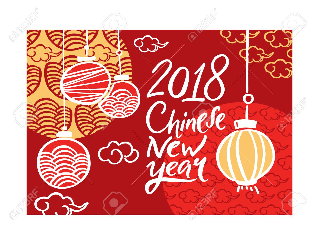 2018 chinese new year greeting card invitation design with paper cut sakura flowers vector