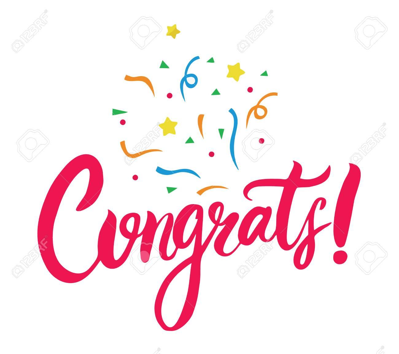 congrats hand written lettering for congratulations card modern