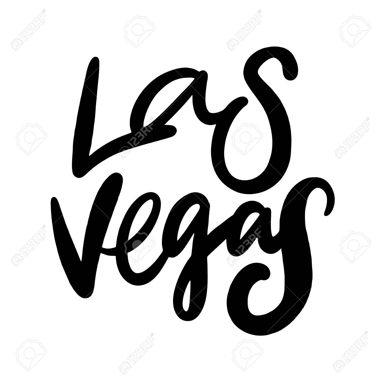 Las Vegas Sign Brush Vector Lettering Isolated On White Background
