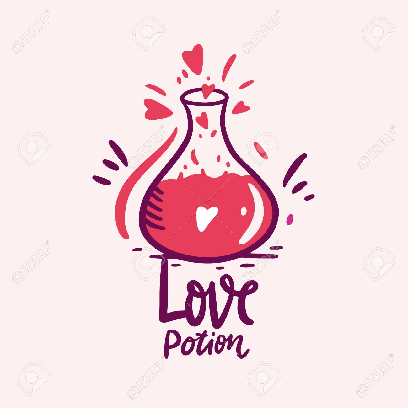 Love Potion And Flask Of Love Drink. Hand Drawn Vector Illustration..  Royalty Free Cliparts, Vectors, And Stock Illustration. Image 116739187.