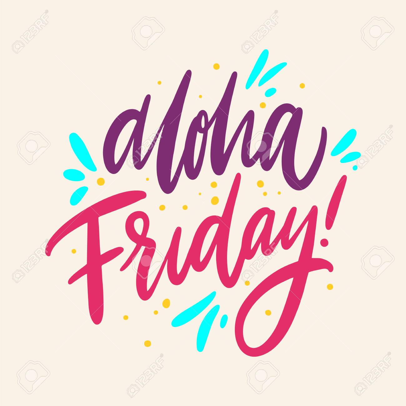 Aloha friday Hand drawn vector lettering  Isolated on background