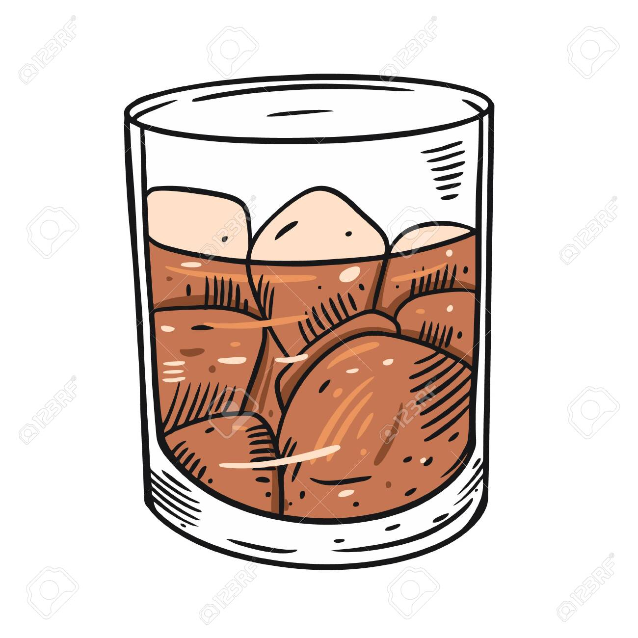 Whiskey in a glass. Cartoon flat vector illustration. Isolated on white background. Design for sign, template, banner, poster, card, t-shirt, blog and web. - 143208891