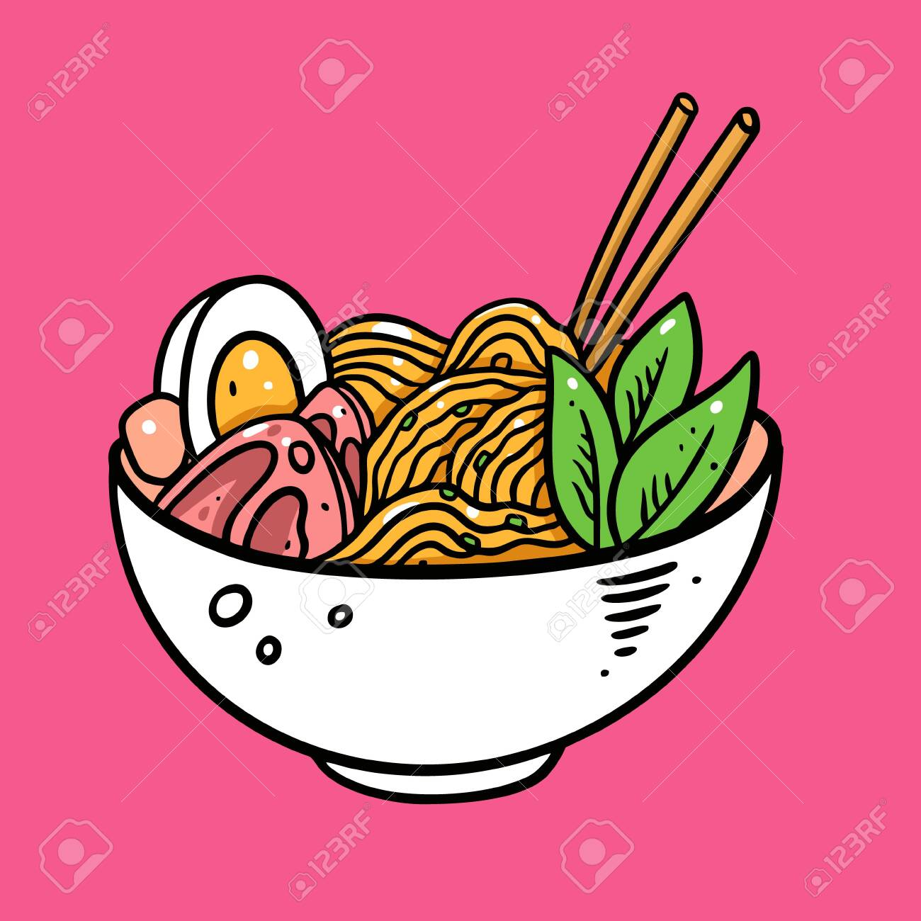 Japanese Ramen Hand Drawn Colorful Vector Illustration Isolated Royalty Free Cliparts Vectors And Stock Illustration Image 150611464