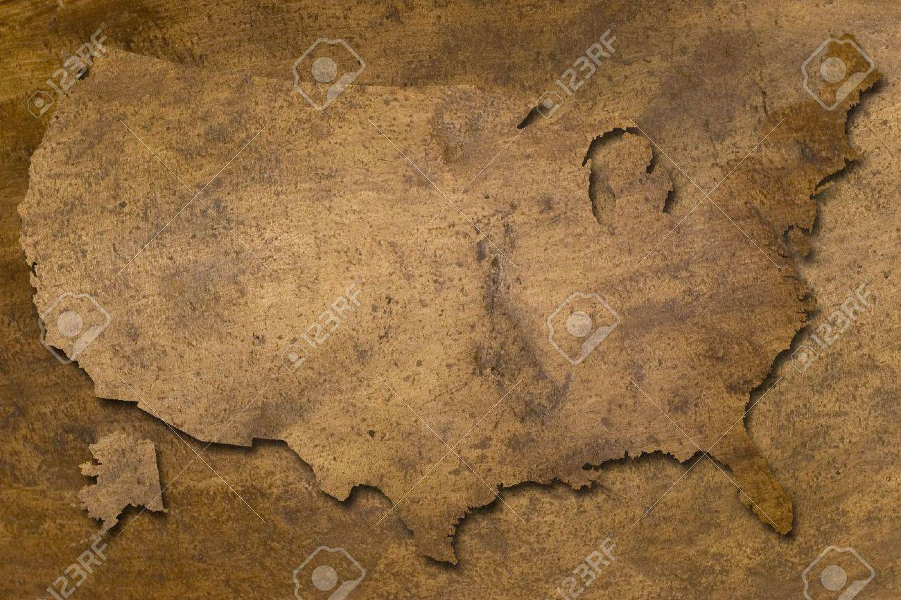 Usa Map Vintage Copper Texture Looks Like Old Stock Photo Picture - Usa map vintage