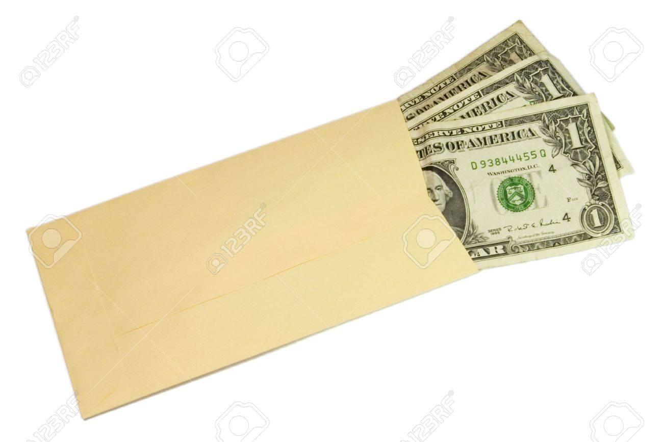three dollars bills in yellow envelope over white stock photo