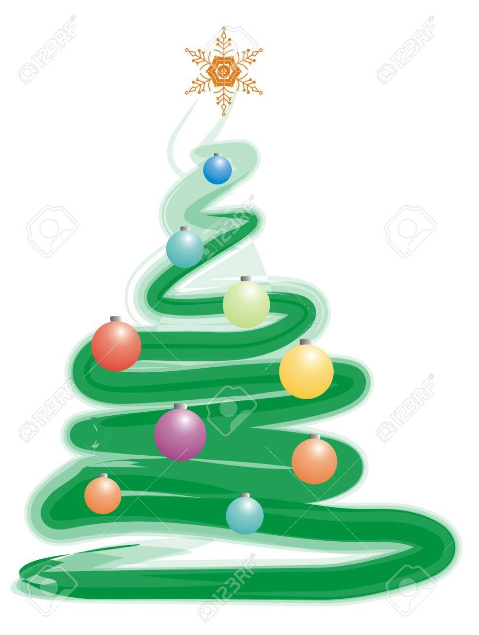 Color Xmas Tree And Spheres For Greeting Card Stock Photo, Picture ...