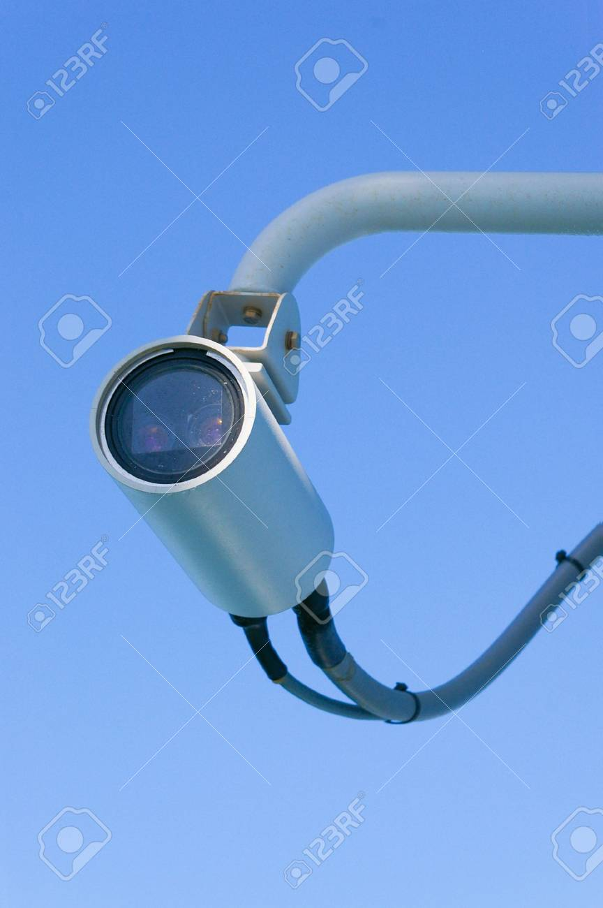 surveillance camera with two lenses on sky Stock Photo - 3098651