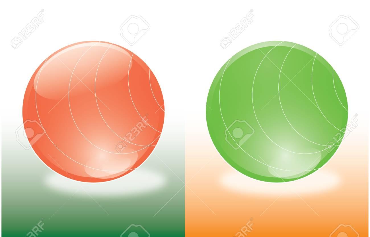 Bolas de color rojo y verde con líneas como hemisferios Foto de archivo -  3450962 05cbe57ada90e
