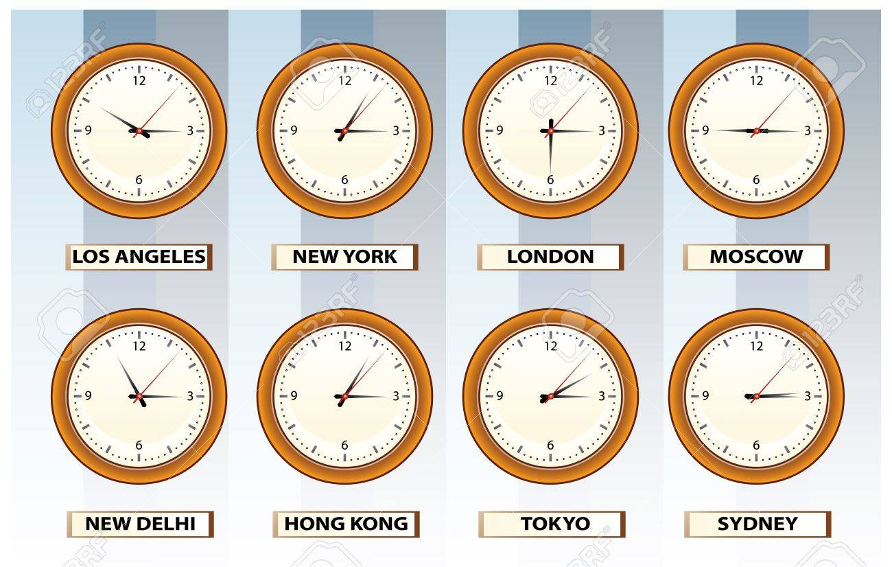 wall time clocks from 8 sites in world Stock Vector - 3453786
